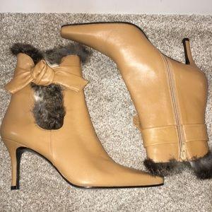 Stuart Weitzman Fur Trim Ankle Boots 8.5